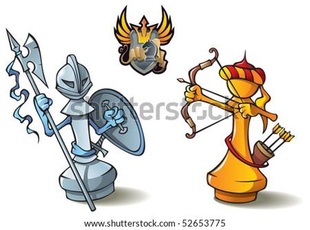 "Chess pieces series, black and white pawns, Crusaders vs. Saracens, including bonus ""Chess Battle"" heraldic emblem, vector illustration - stock vector"