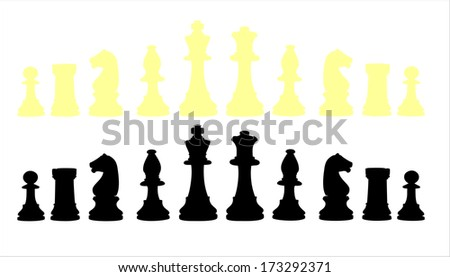Chess pieces set A complete set of chess pieces. - stock vector