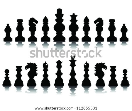 Chess pieces silhouette 3, vector - stock vector