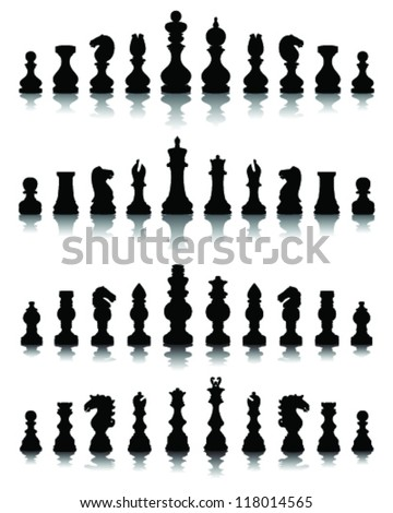 Chess pieces silhouette 4, vector - stock vector
