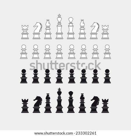 Chess pieces silhouette, vector - stock vector