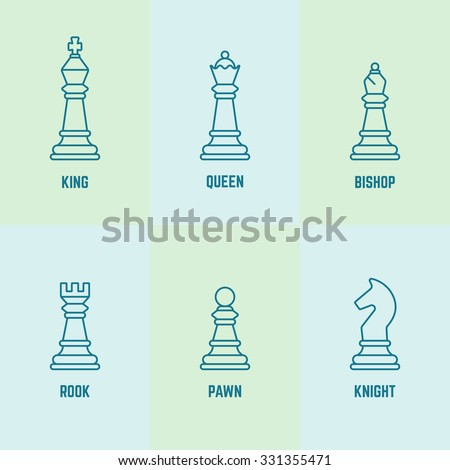 Chess pieces with named vector outline icons (king, queen, bishop, rook, knight, pawn) - stock vector