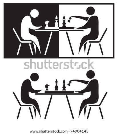 Chess players. Black and white vector illustration.