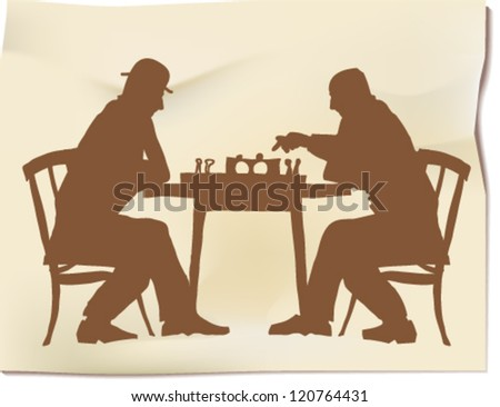 Chess players silhouettes