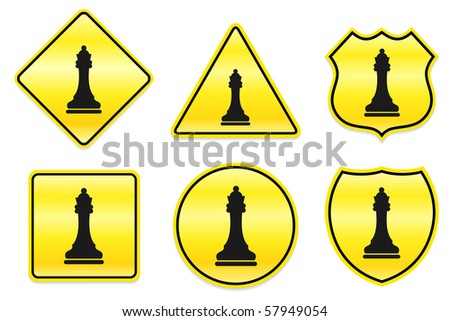 Chess Queen Icon on Yellow Designs Original Illustration - stock vector