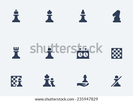 Chess related vector icons set - stock vector