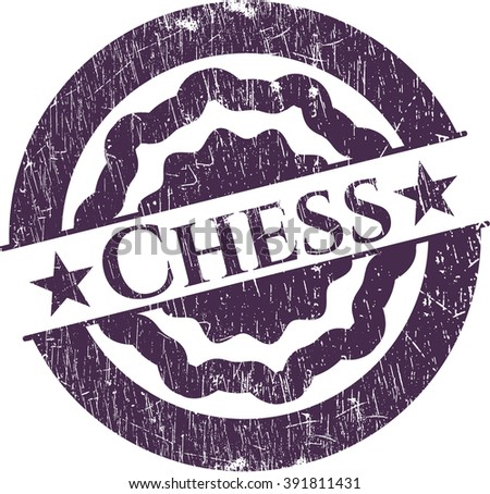 Chess rubber stamp with grunge texture - stock vector