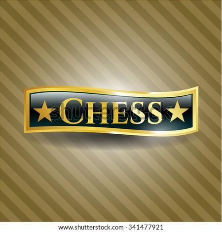 Chess shiny badge - stock vector