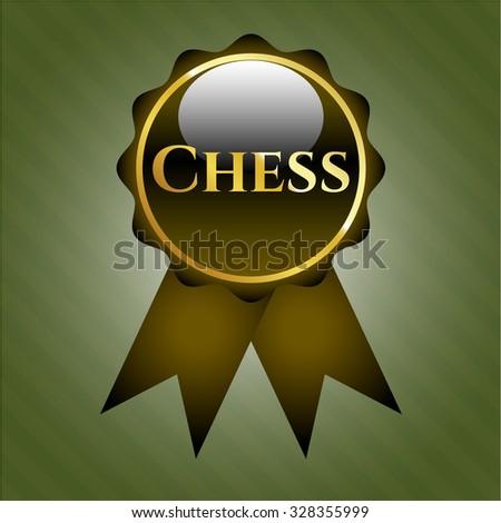 Chess shiny ribbon, emblem or badge - stock vector