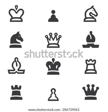 Chess Silhouette Icons - stock vector