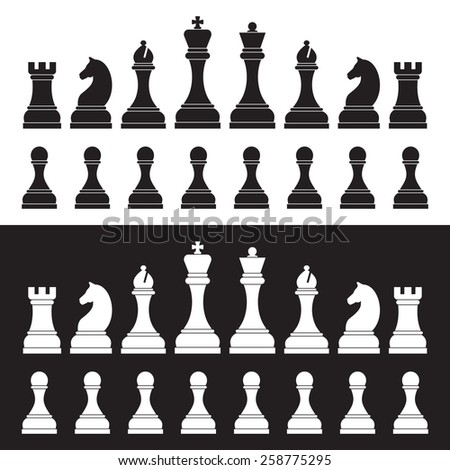 Chess silhouettes on white and black background. - stock vector
