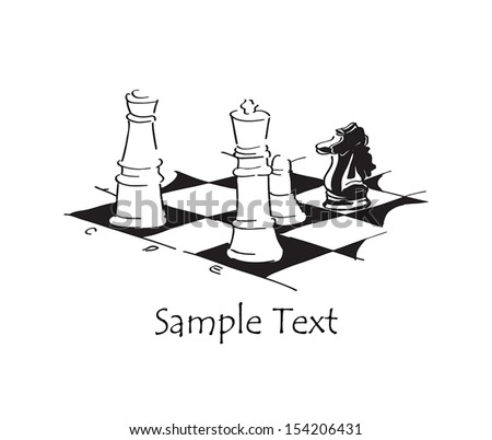 Chess. The Black knight attacks both the White king and queen at the same time. - stock vector