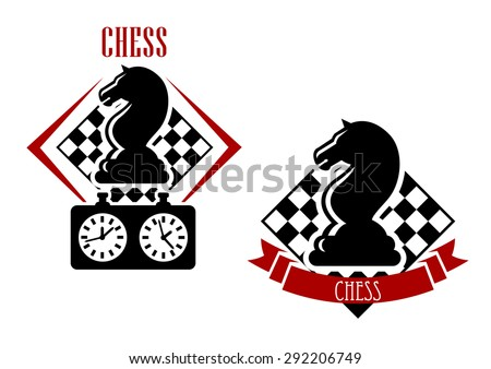 Chess tournament badges with black horses and game clock with chessboards on the background adorned with red ribbon banner - stock vector