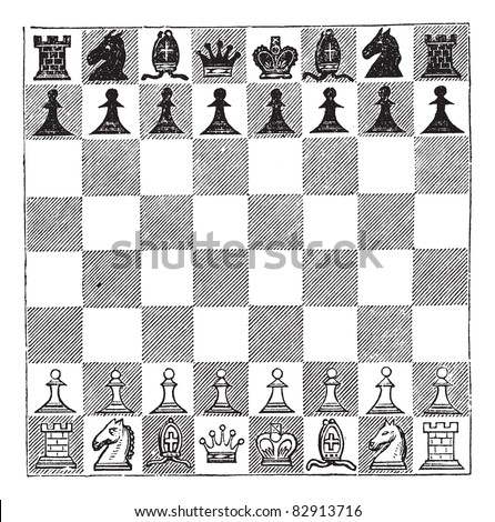 Chess, vintage engraving. Old engraved illustration of Chess showing chess pieces arranged on a chess board. Trousset encyclopedia (1886 - 1891). - stock vector