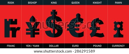 Chess - world currency, vector set - stock vector