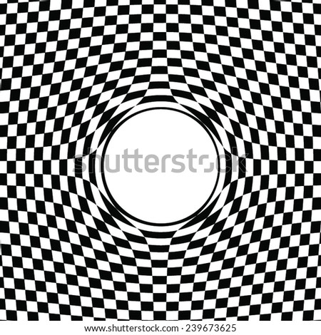 chessboard background with a hole in the center - stock vector