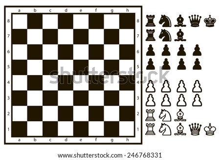 Chessboard or character set of chess pieces. Vector illustration. - stock vector