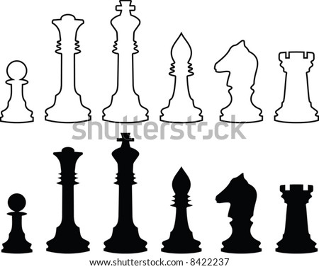 Chessmen, black and white contours. A vector illustration. It is isolated on a white background. - stock vector