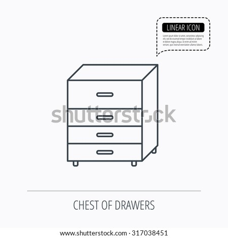 Chest of drawers icon. Interior commode sign. Linear outline icon. Speech bubble of dotted line. Vector