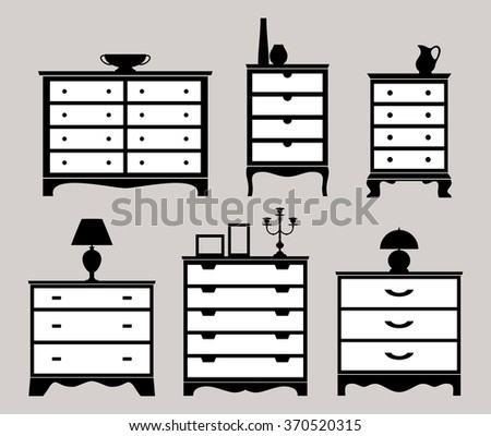 Chest of drawers with lamp, a vase, a candlestick, a jar, a photo frame. Set of silhouettes. - stock vector
