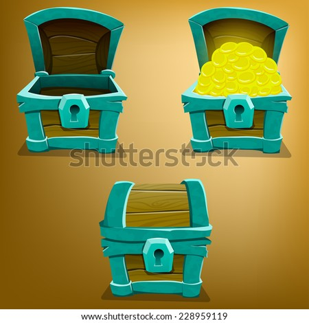 Chest set for game interface. Vector illustration. - stock vector