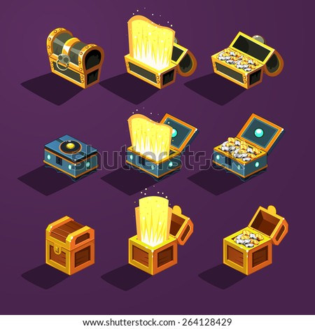 Chest set for game interface. Vector set - stock vector