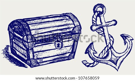 Chest sketch and anchor - stock vector