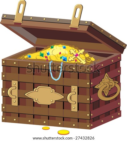 chest with treasures - stock vector