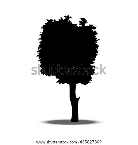 Chestnut. Beautiful vector tree silhouette icon.