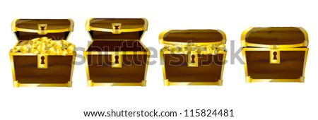 chests of coins - stock vector