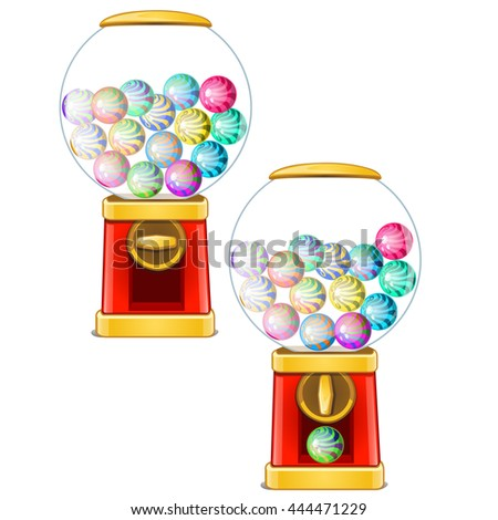 Chewing gum dispenser isolated on white background. Vector illustration.