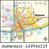 Cheyenne, Wyoming area map - stock vector