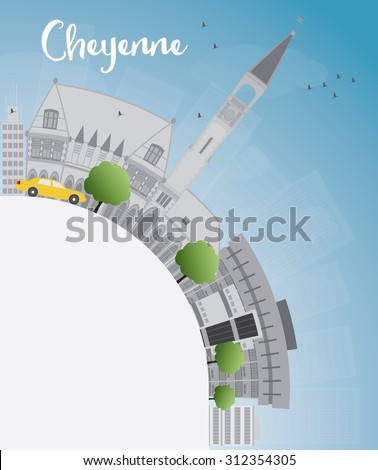 Cheyenne (Wyoming) Skyline with Grey Buildings, Blue Sky and copy space. Vector Illustration. Business travel and tourism concept with place for text. Image for presentation, banner, placard and web
