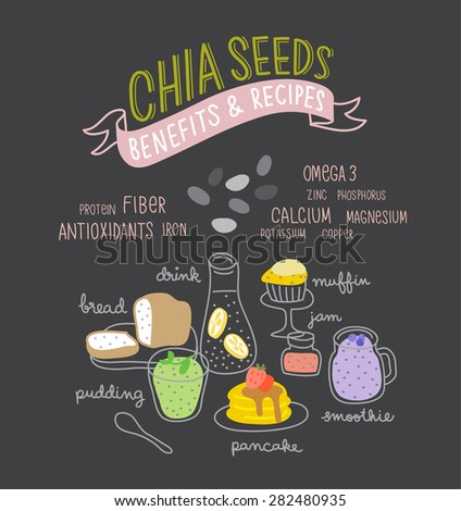 chia seeds benefits and recipes draw vector illustration - stock vector