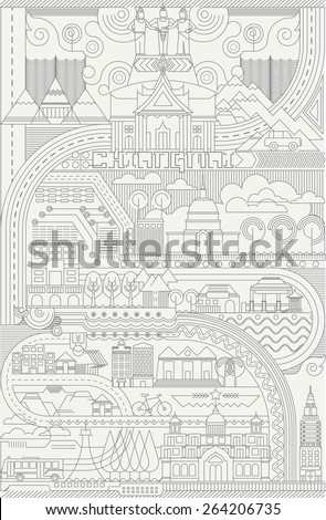 Chiangmai Thailand City line drawing Isolated on White Background, Chianmai Line Silhouette Typographic Design, Vector illustration - stock vector
