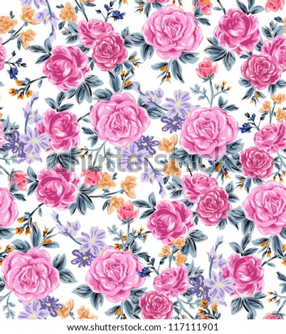 chic and seamless roses pattern,romantic garden feeling flowers ,floral in blossom - stock vector