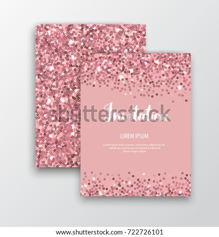 Chic sparkle invitation cards rose gold stock vector hd royalty chic sparkle invitation cards with rose gold sequins for events stopboris Images