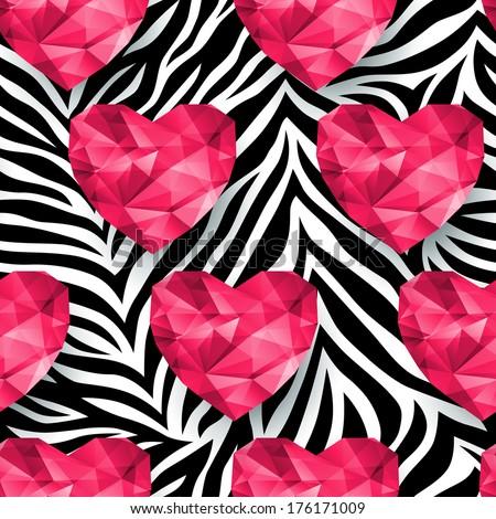 Colorful animal print hearts - photo#12