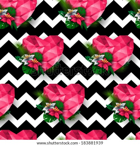 Chic vector seamless patterns (tiling). Chevron print. Polygonal hearts. Endless texture can be used for printing onto fabric and paper or scrap booking. - stock vector