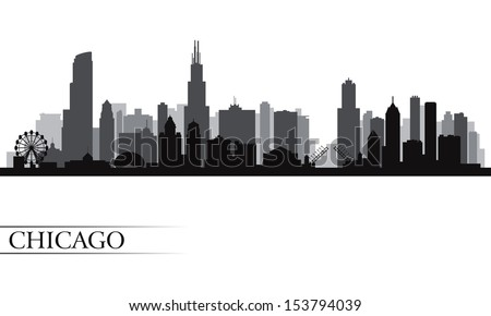 Chicago city skyline detailed silhouette. Vector illustration  - stock vector