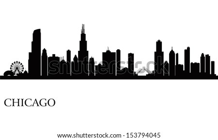 Chicago city skyline silhouette background. Vector illustration - stock vector