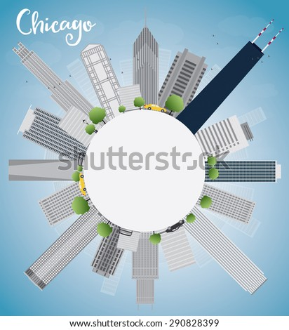 Chicago city skyline with grey skyscrapers,  blue sky and copy space. Vector illustration. Business travel and tourism concept with place for text. Image for presentation, banner, placard and web site