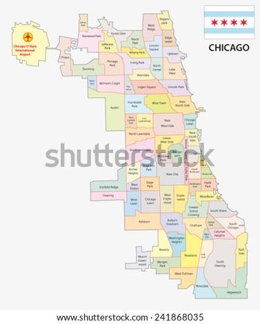 chicago neighborhood map with flag - stock vector