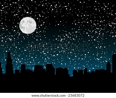 Chicago skyline at night - stock vector
