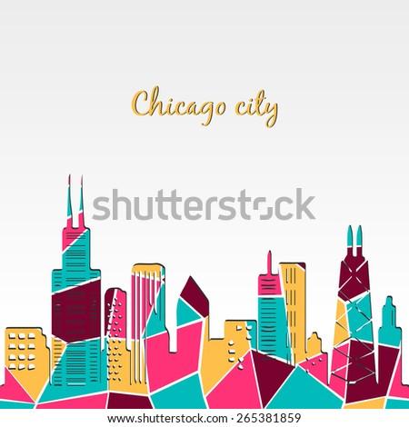Chicago skyline. Modern design of city skyline. Colorful skyline sihouette. Vector illustrations - stock vector