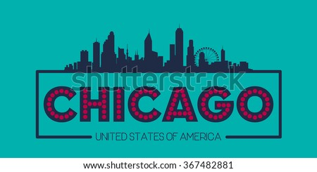 Chicago skyline silhouette poster vector design illustration - stock vector