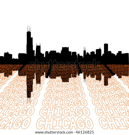 Chicago skyline with perspective text outline foreground - stock vector
