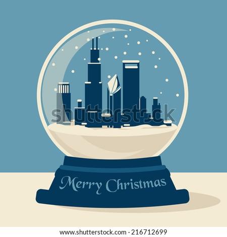 Chicago Snow Ball - stock vector