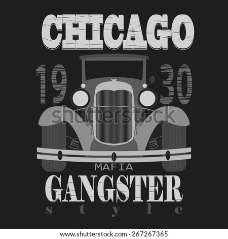 Chicago t-shirt graphic design. Gangster style  typography emblem - vector illustration  - stock vector