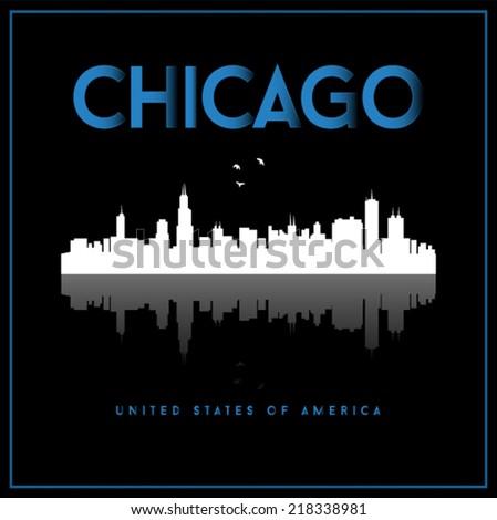 Chicago, USA skyline silhouette vector design on black background. - stock vector